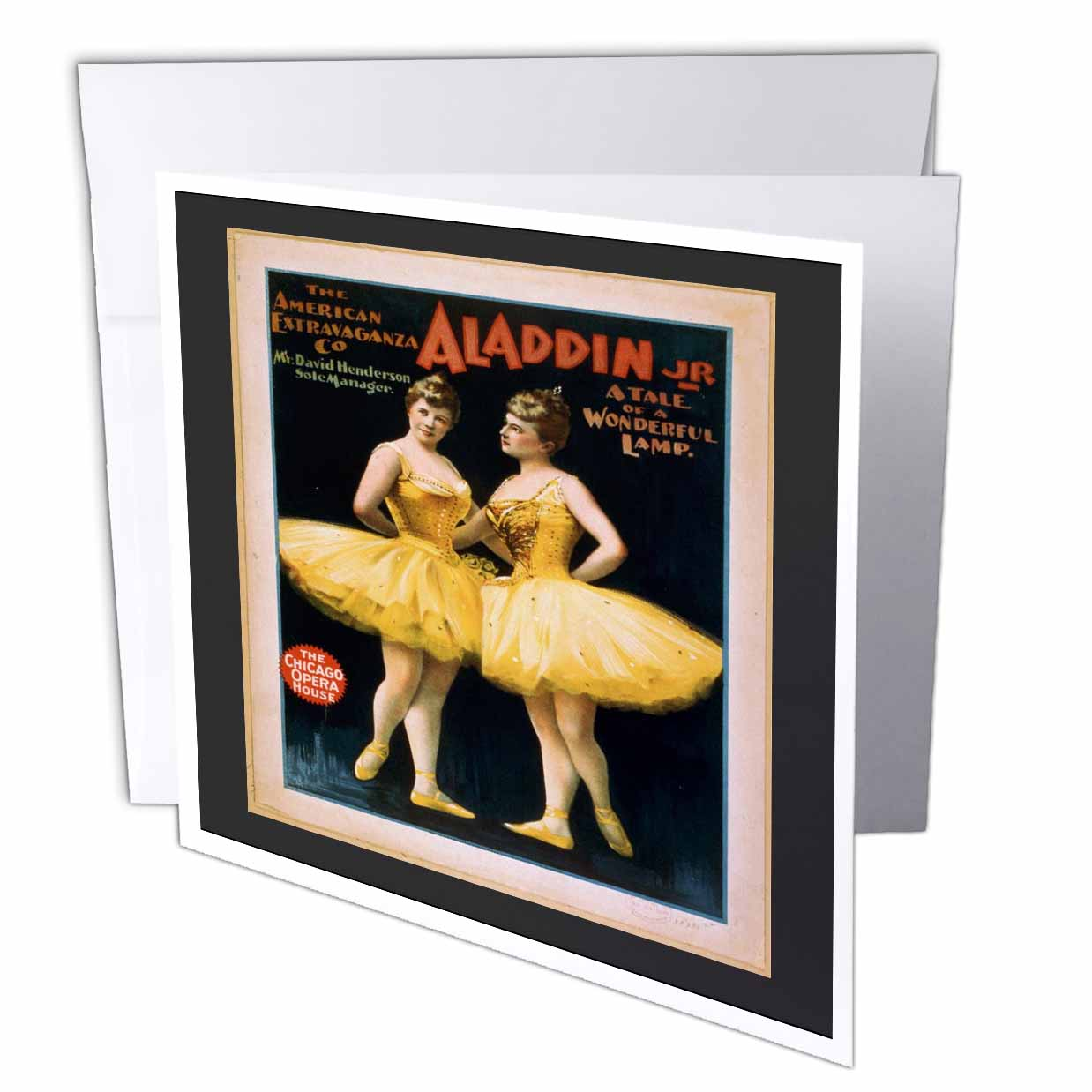 3dRose Vintage Theatre Poster For Ballet, Greeting Cards, 6 x 6 inches, set of 12