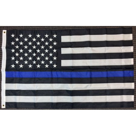 Division Memorial (3x5 Thin Blue Line American Embroidered 210D Flag Police Lives Matter Memorial )