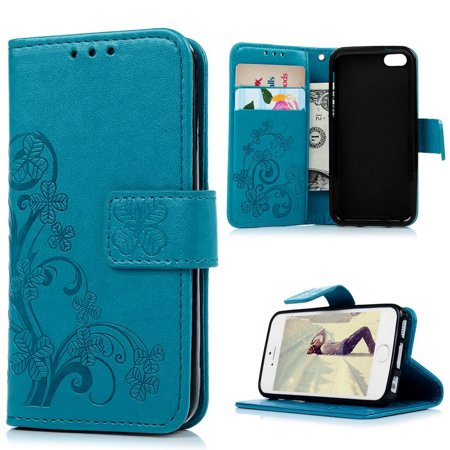 iPhone SE Case, iPhone 5S Wallet Case, iPhone 5 Case for Women,Mavis's Diary Elegant Blue Wallet Flip Case Embossed Clover PU Leather with Card Holders Wrist Strap [ Stand Feature ] for iPhone SE/5S/5 ()