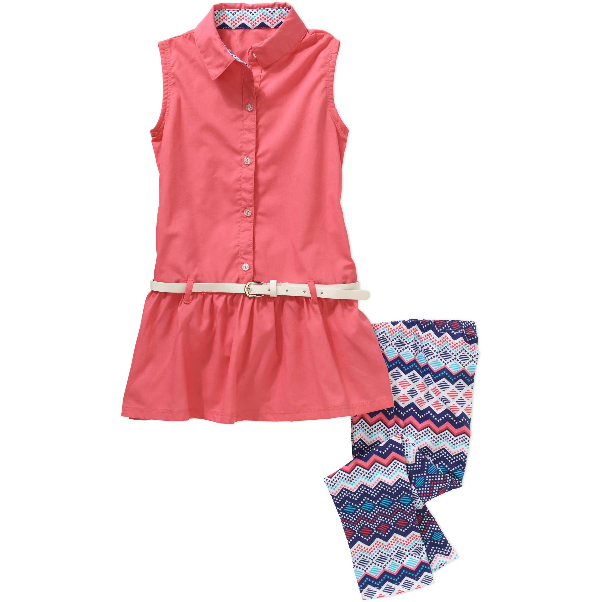 One Step Up Girls #SheSet Belted Sleeveless Chambray Top & Printed Legging Set