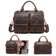 MUNDAZE PREMIUM GENUINE LEATHER MESSENGER BAGS 14 INCH LAPTOP HANDBAG FOR MEN BROWN