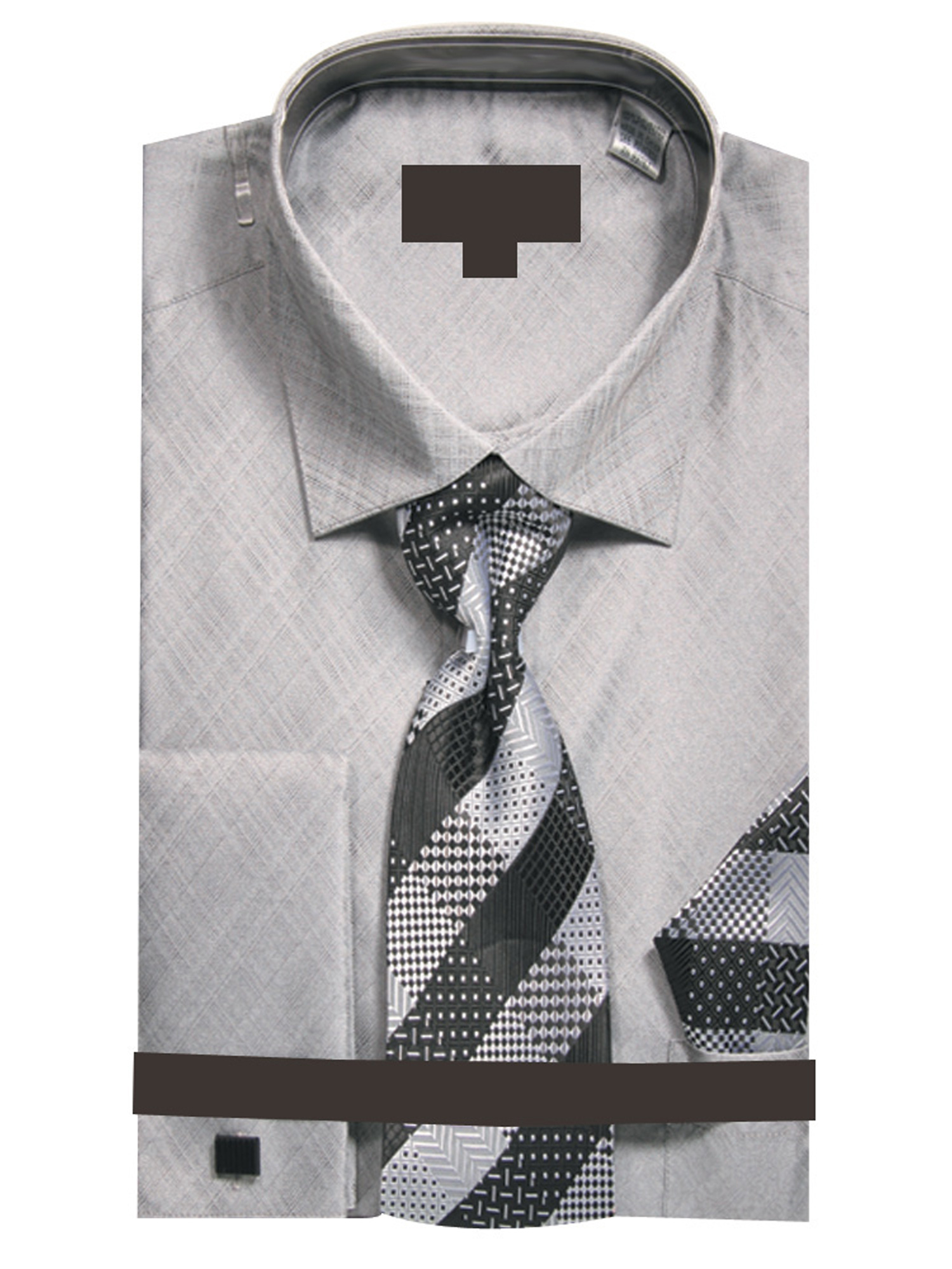 Sunrise Outlet Mens Metallic French Cuff Dress Shirt W Tie Hanky