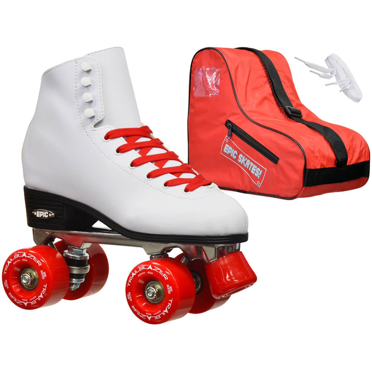 Epic Classic White/Red Quad Roller Skates Package