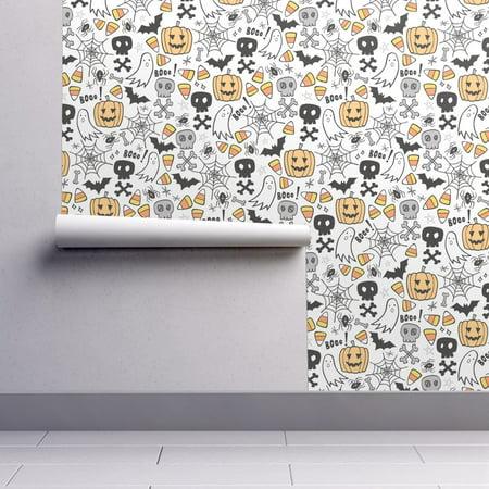 Wallpaper Roll Halloween Bat Spider Web Ghost Trick Or Treat Skulls 24in x (John Carpenter's Halloween Wallpaper)