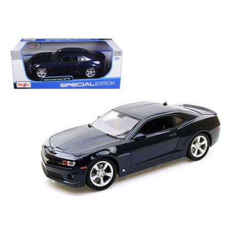 2010 Chevrolet Camaro RS SS Dark Blue with Silver Wheels 1/18 Diecast Model Car by Maisto