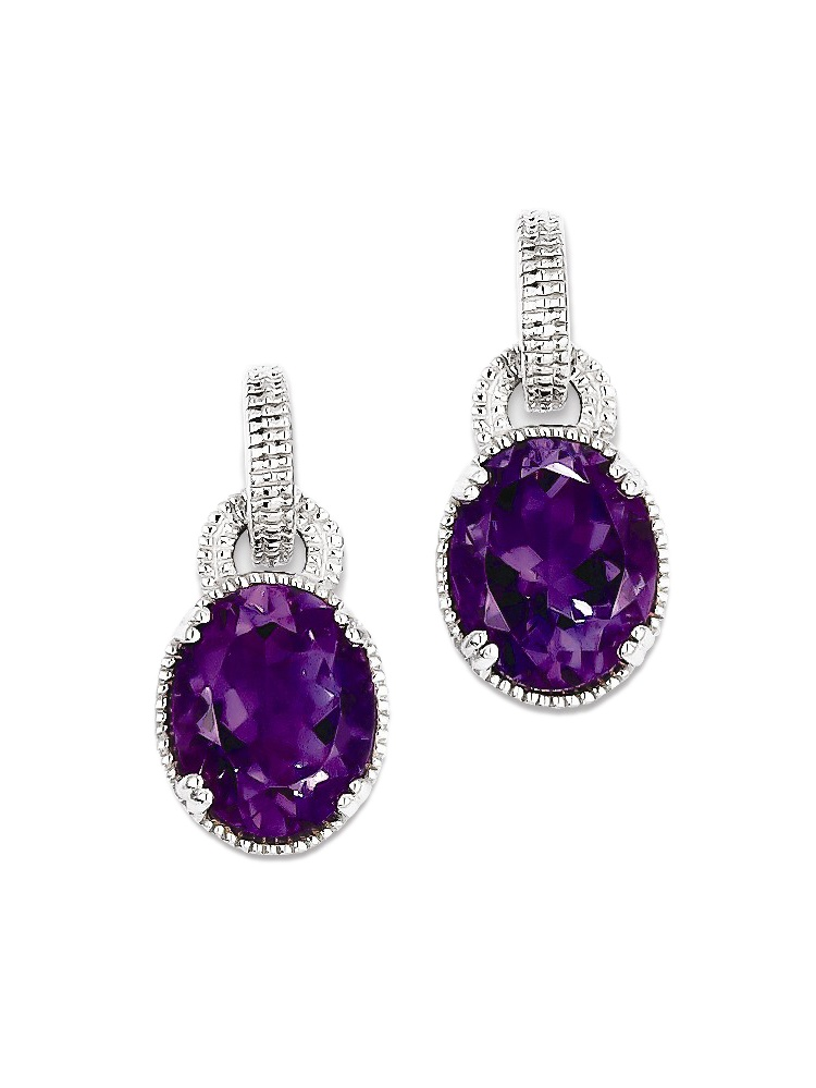 925 Sterling Silver Oval Cut Amethyst Drop Earrings by