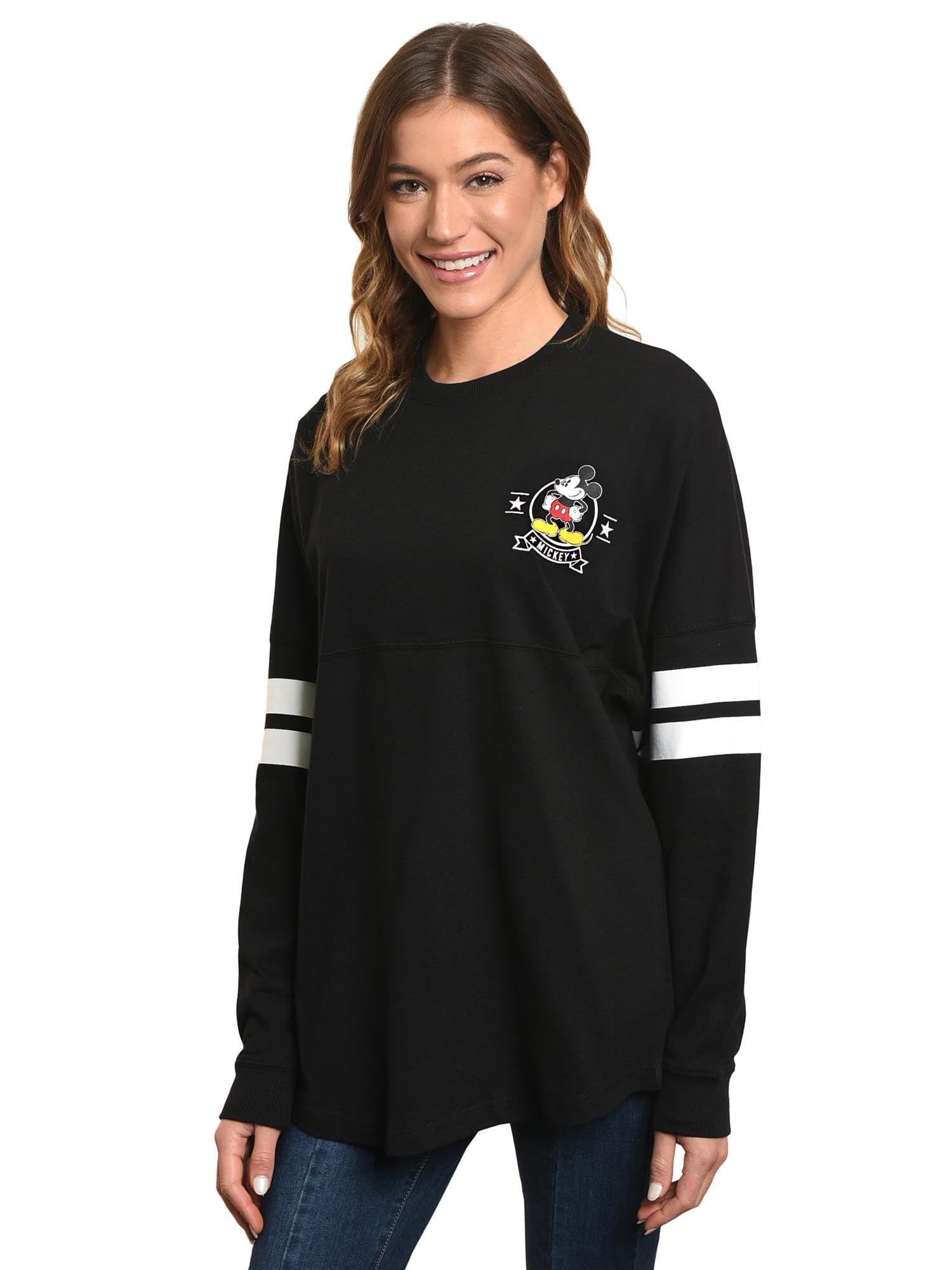Women's Jersey Mickey Mouse Long Sleeve Sweatshirt - Black