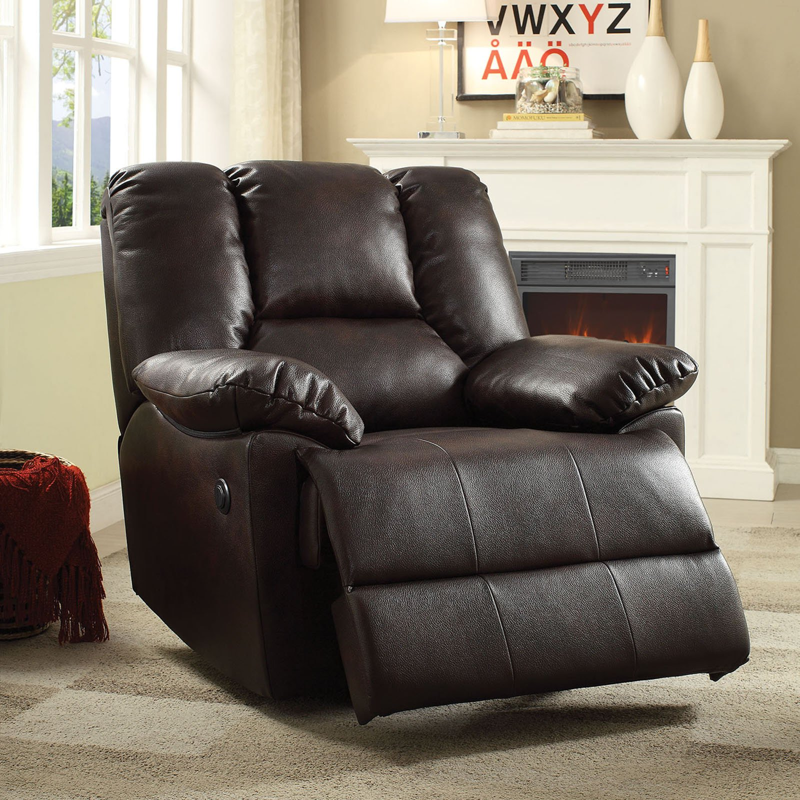 ACME Oliver Power Recliner, Dark Brown Leather-Aire by Overstock