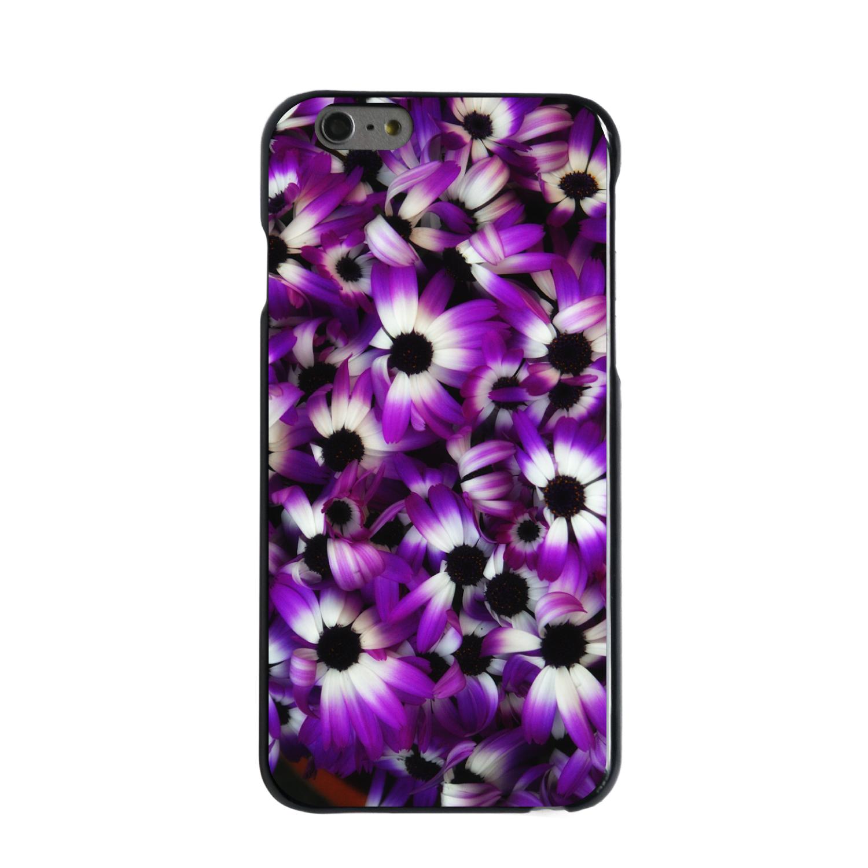 "CUSTOM Black Hard Plastic Snap-On Case for Apple iPhone 6 PLUS / 6S PLUS (5.5"" Screen) - Purple White Black Flowers"