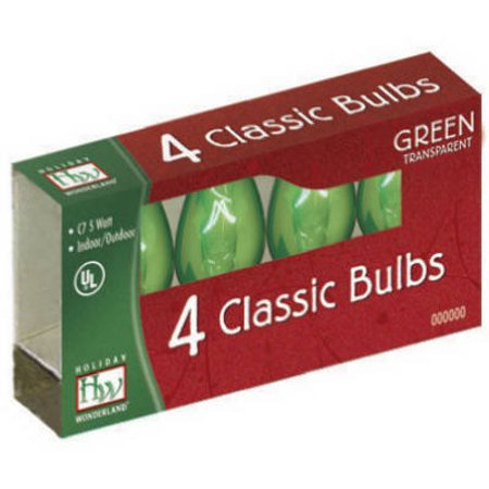 Noma/Inliten-Import 1075G-88 Christmas Lights Replacement Bulb, C7, Green Transparent,