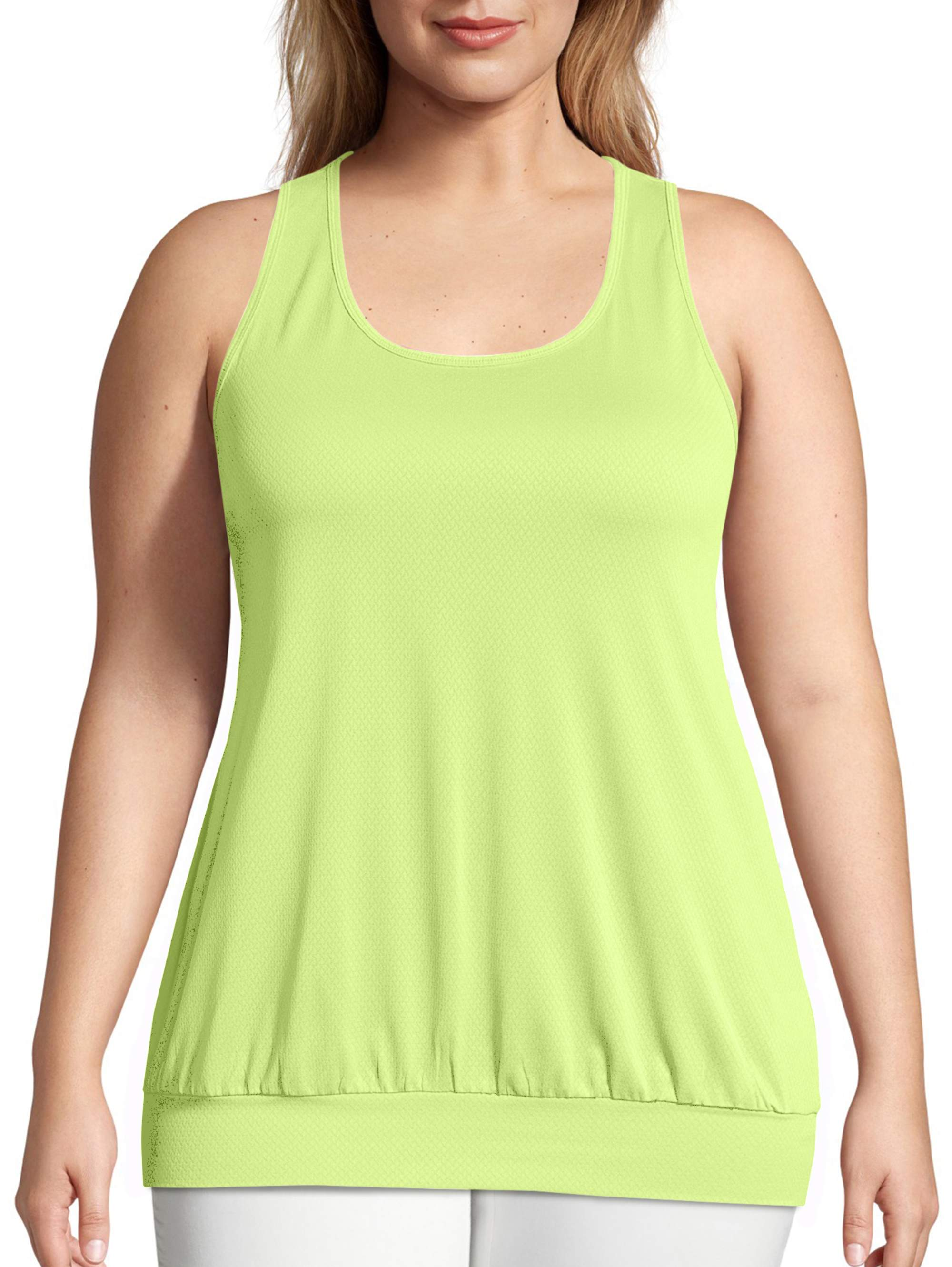 JUST MY SIZE Womens Plus Size Active Mesh Banded Tank