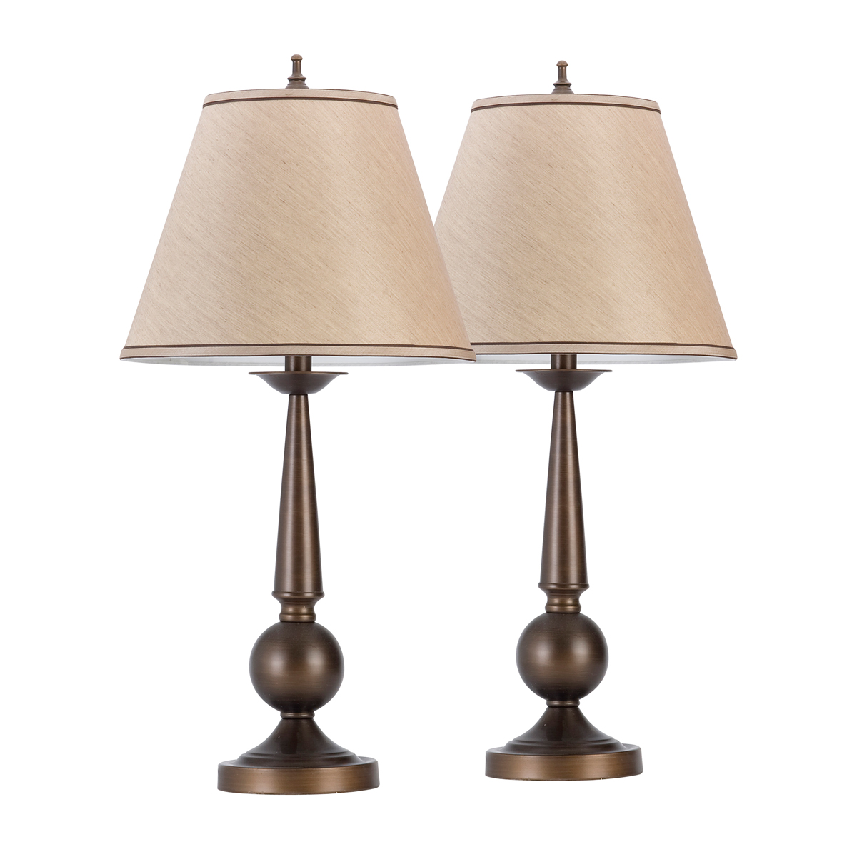 "Globe Electric 60 Watt Set of Two 27"" Bronze & Beige Table Lamps"
