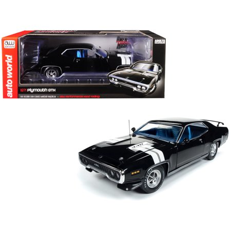 1971 Plymouth GTX Hardtop Black Velvet with White Stripes Limited Edition to 1,002 pieces Worldwide 1/18 Diecast Model Car by Autoworld 1 Piece Hardtop