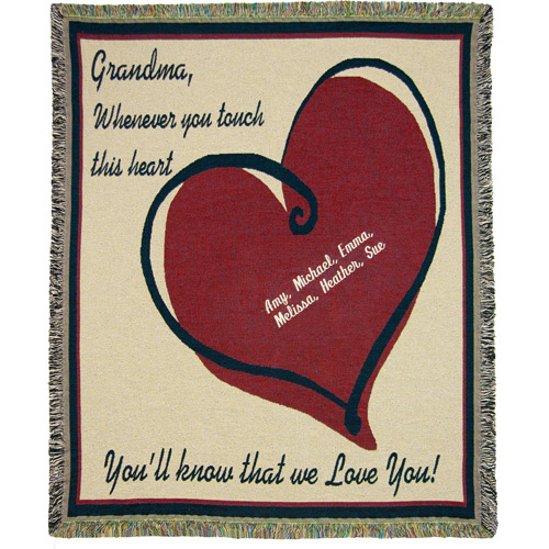 "Personalized Grandma We Love You 50"" x 60"" Tapestry Throw"