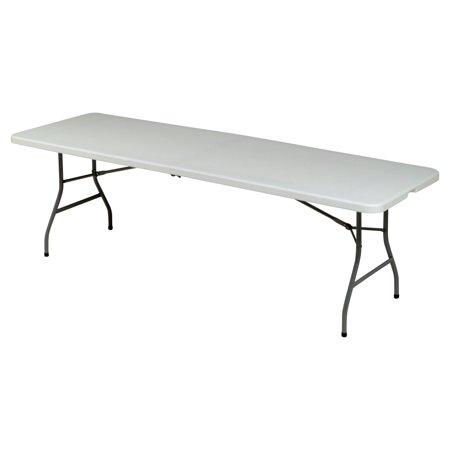 8' UTILITY Fold in half table - crème/Mocha](8 Ft Plastic Table)