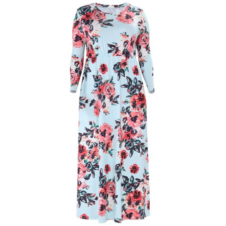 Floral Long Sleeve Plus Size Maxi Dresses High Waist Tunic Long Party  Wedding Dress with Pocket for Women