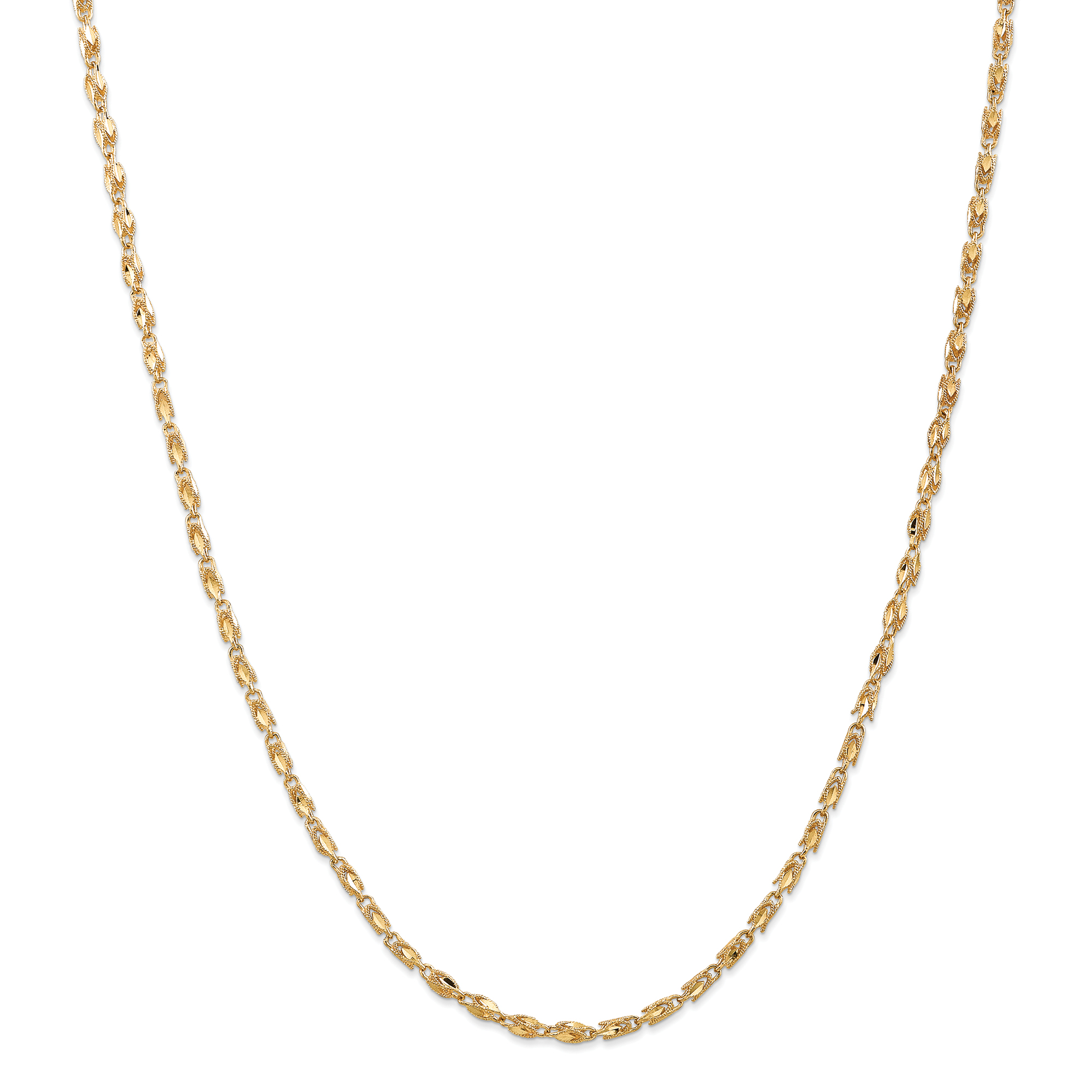 14k Yellow Gold 2.5mm Marquise Chain Necklace 18 Inch Pendant Charm Fine Jewelry For Women Gift Set
