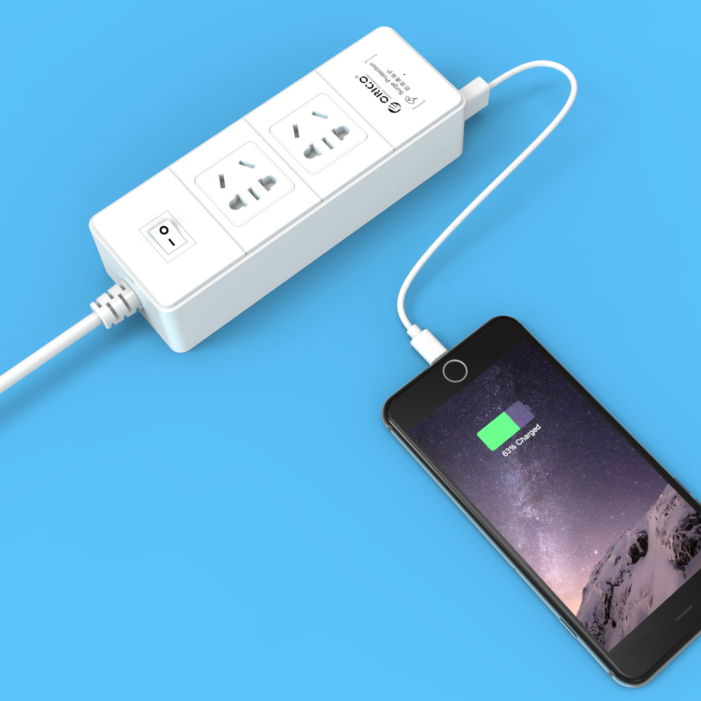 Orico White Surge Protector 2 AC Sockets 4 USB 5V Super Charger Desktop Charging Station with Switcher for iPhone 6 /6 plus, Samsung Galaxy S6/S6 Edge/Tab, Huawei P7, HTC M9, LG G3, Sony Z3 etc..