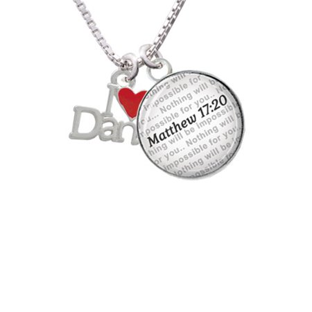 Delight Jewelry - I love Dance with Red Heart - Bible Verse Matthew