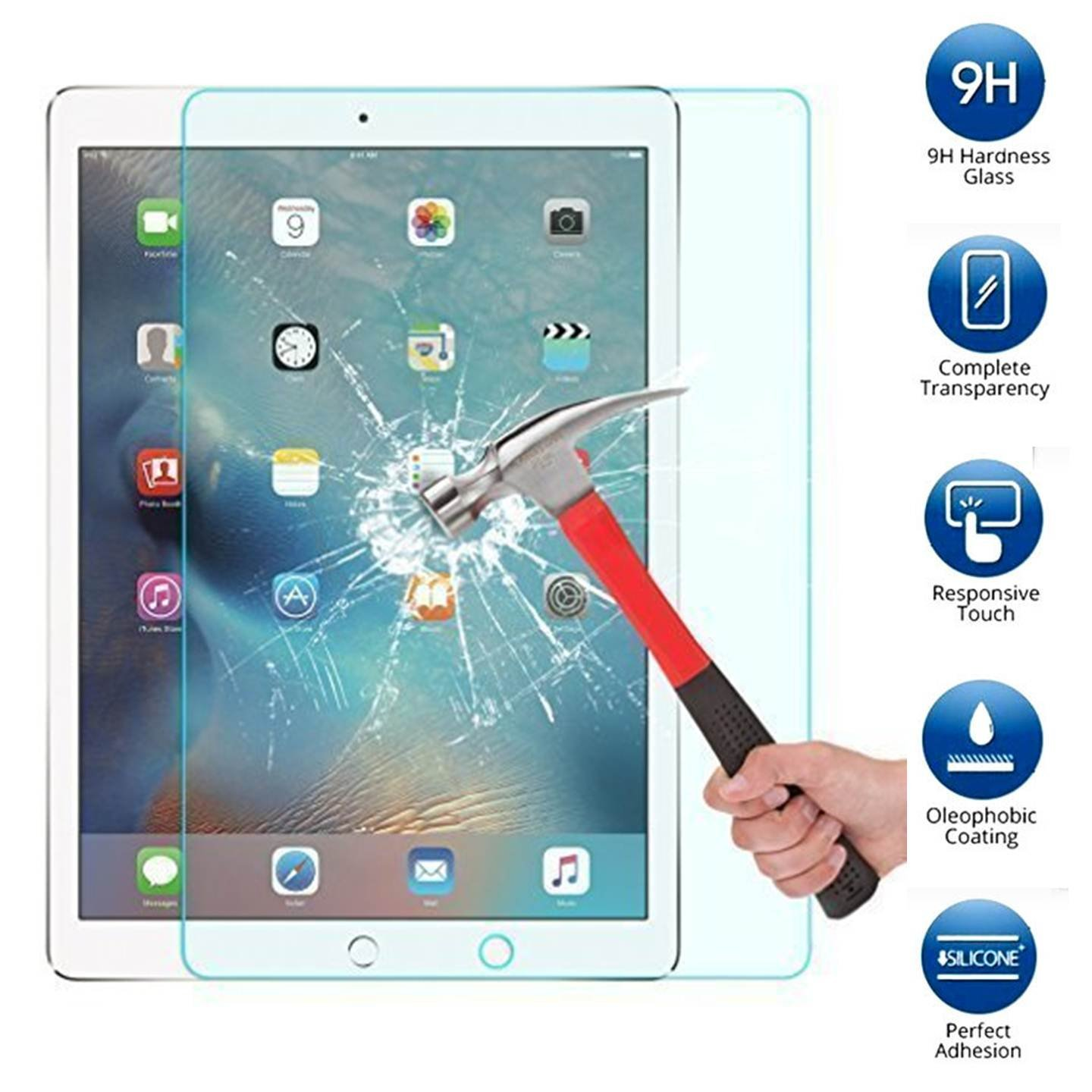"""For iPad Pro 12.9"""" (2015 Release) - Tempered Glass Screen Protector [Anti-Scratch, Anti-Bubble] + LED Stylus Pen"""