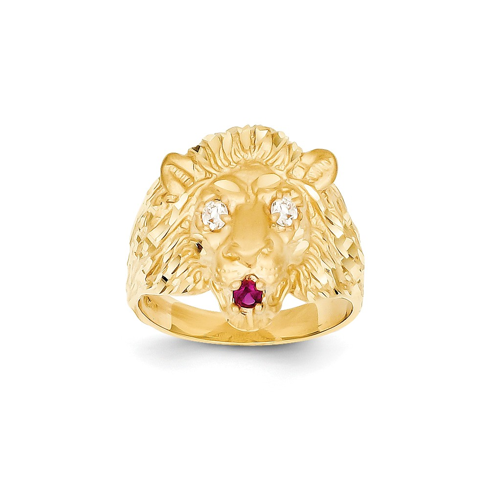 14k Yellow Gold Lion with CZ Eyes and Red Synthetic Tongue Ring