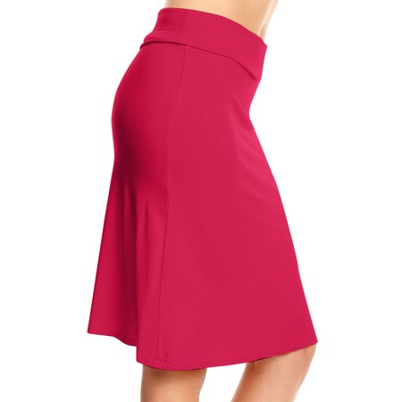 Flowy Skirts for Women Knee Length a Line High Waisted Flared Skirt - USA