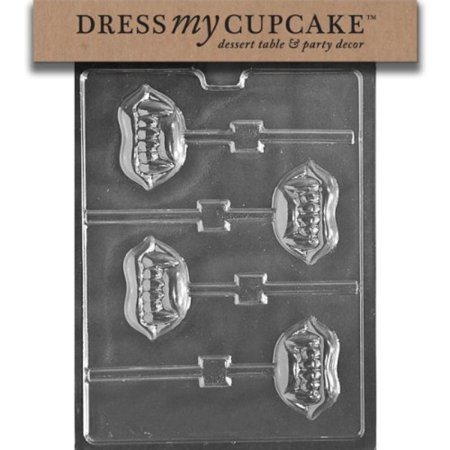 Chocolate Orange Halloween Cupcakes (Dress My Cupcake DMCH168 Chocolate Candy Mold, Fangs Lollipop,)