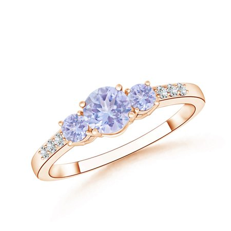 December Birthstone Ring - Three Stone Round Tanzanite Ring with Diamond Accents in 14K Rose Gold (5mm Tanzanite) -