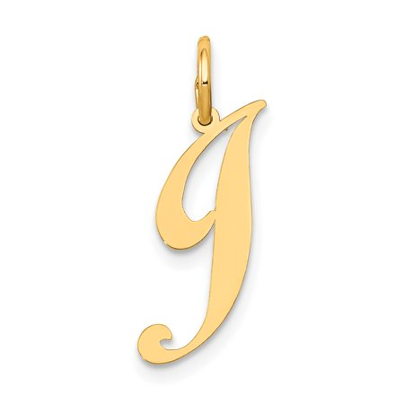 14k Yellow Gold Small Script Initial Monogram Name Letter J Pendant Charm Necklace Gifts For Women For Her