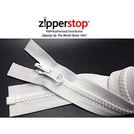 ZipperStop Wholesale YKK® - Vislon Jacket Zipper Reversible Slide YKK® #5 Molded Plastic Separating End - Color WHITE Custom Length (27 Inches)