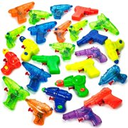 Kidsco Small Squirt Guns for Kids - 25 Pieces Water Squirting Toys Assortment - Plastic Multicolor Pistol Blasters for Summer Pool Activities, Barbecue Picnics, Beach Party Favors
