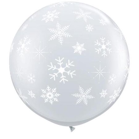 Snowflakes & Sparkles Diamond Clear Giant 3ft Latex Balloon, By Qualatex (Giant Snowflakes)