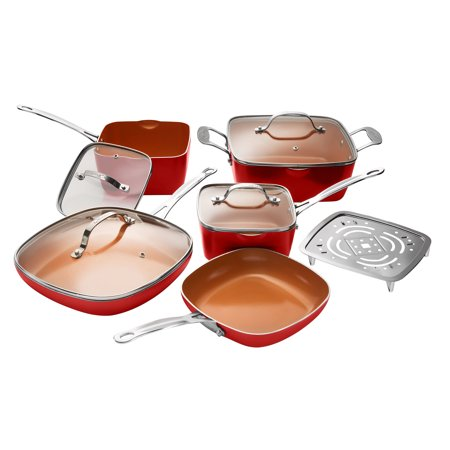 Gotham Steel Non-Stick 10 Piece Square Frying Pan and Cookware Set, RED– As Seen on