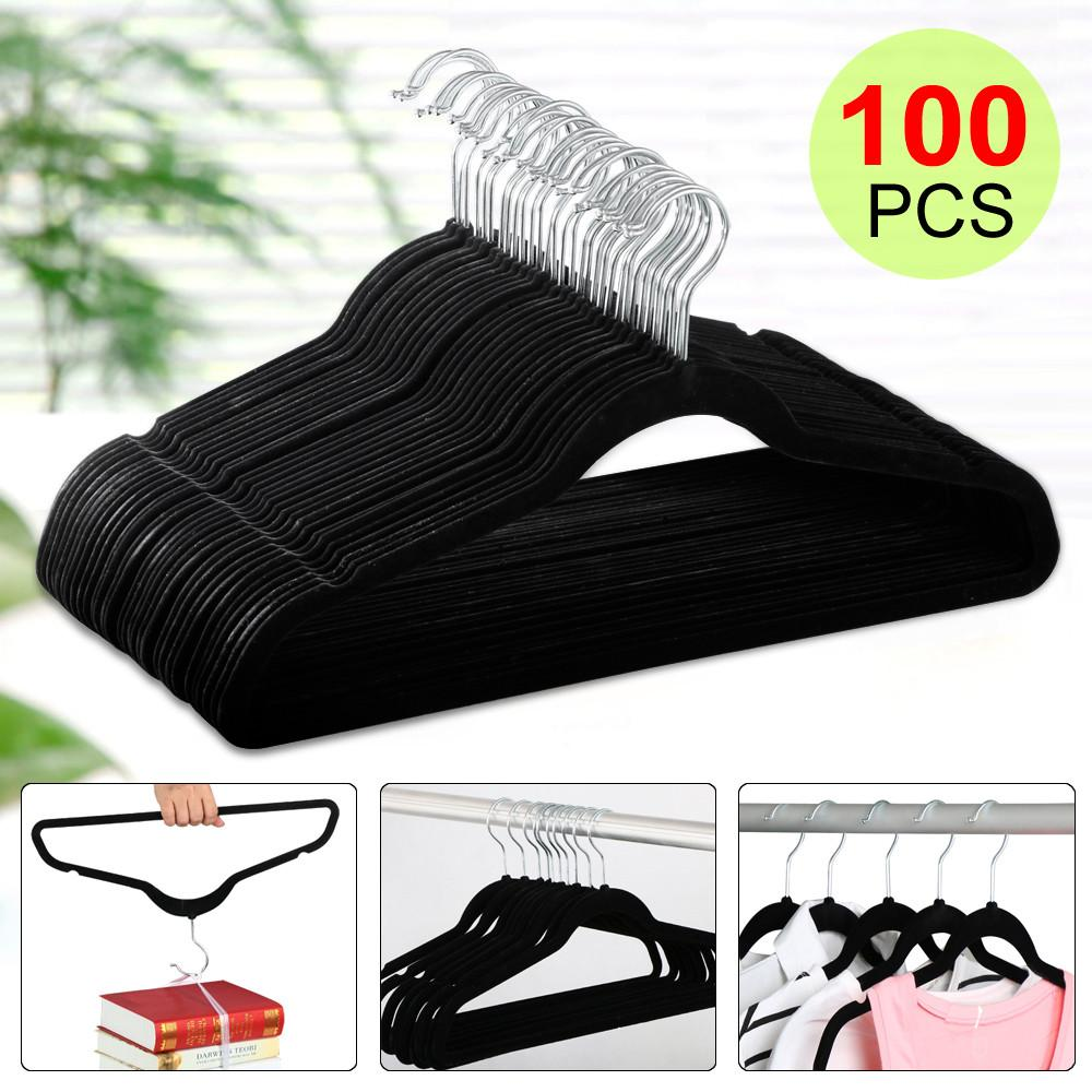 Yaheetech 100 PCS Thin Non-Slip Velvet Clothes Suit/Shirt/Pants Hangers Set