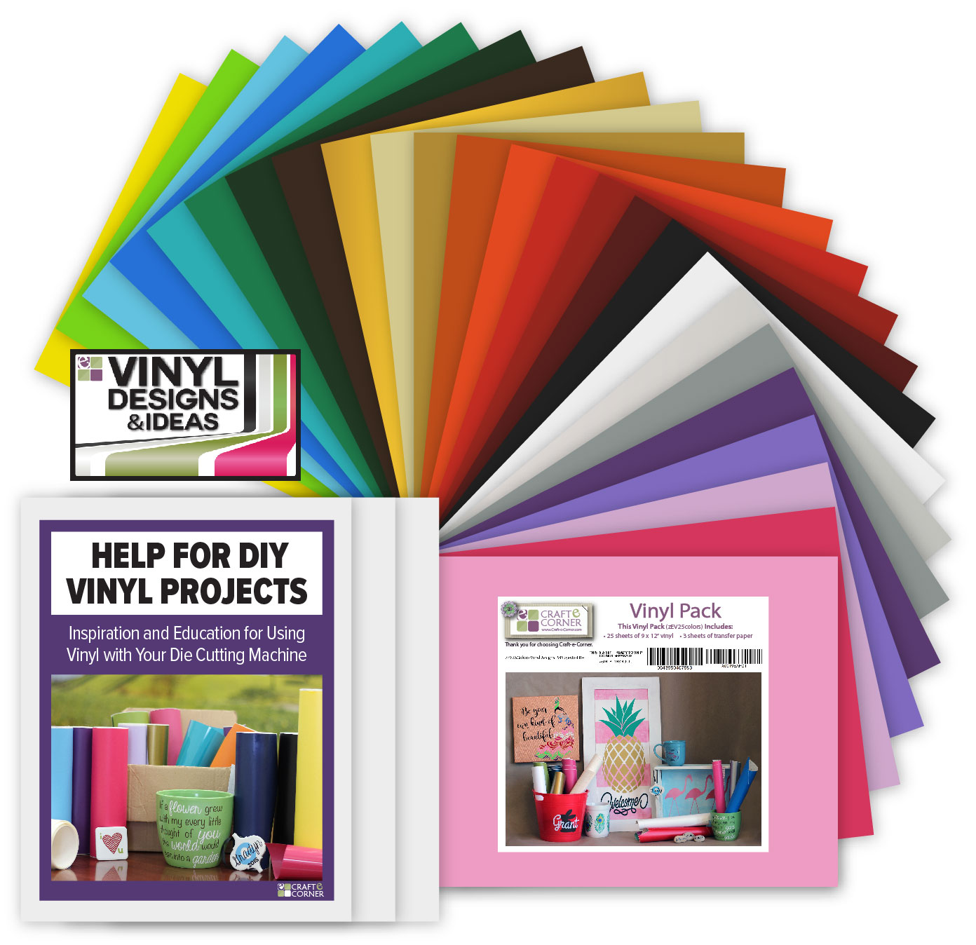 Adhesive Vinyl 25 Color Sheets, Transfer Paper & Exclusive Designs and Projects Bundle