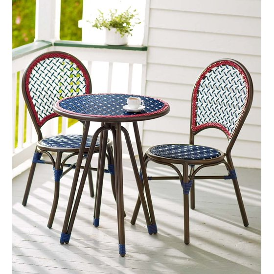 Table Chairs Walmart: Americana Wicker Bistro Table And Chairs Set