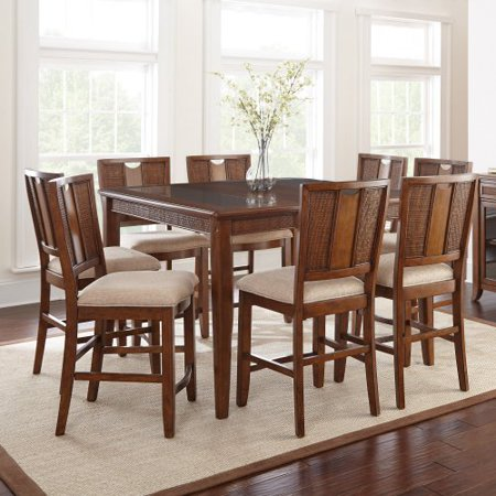 silver melody 9 piece counter height dining table set