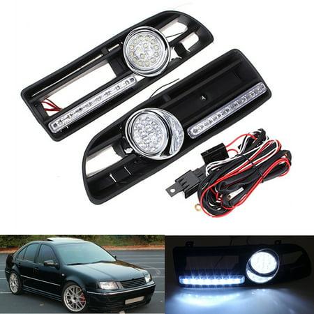 1pcs 12V Car vwjettafoglight Fog Light LED DRL Bumper Grill Wiring Harness Relay For VW Jetta VW Bora MK4 1999-2004