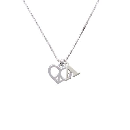 Silvertone Heart Peace Sign - A - Initial Necklace Peace Heart Necklace