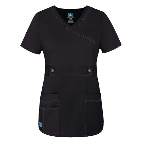 Adar Womens Pop Stretch Junior Fit Taskwear Tab Waist Crossover Scrub Top   3200   Black   2X