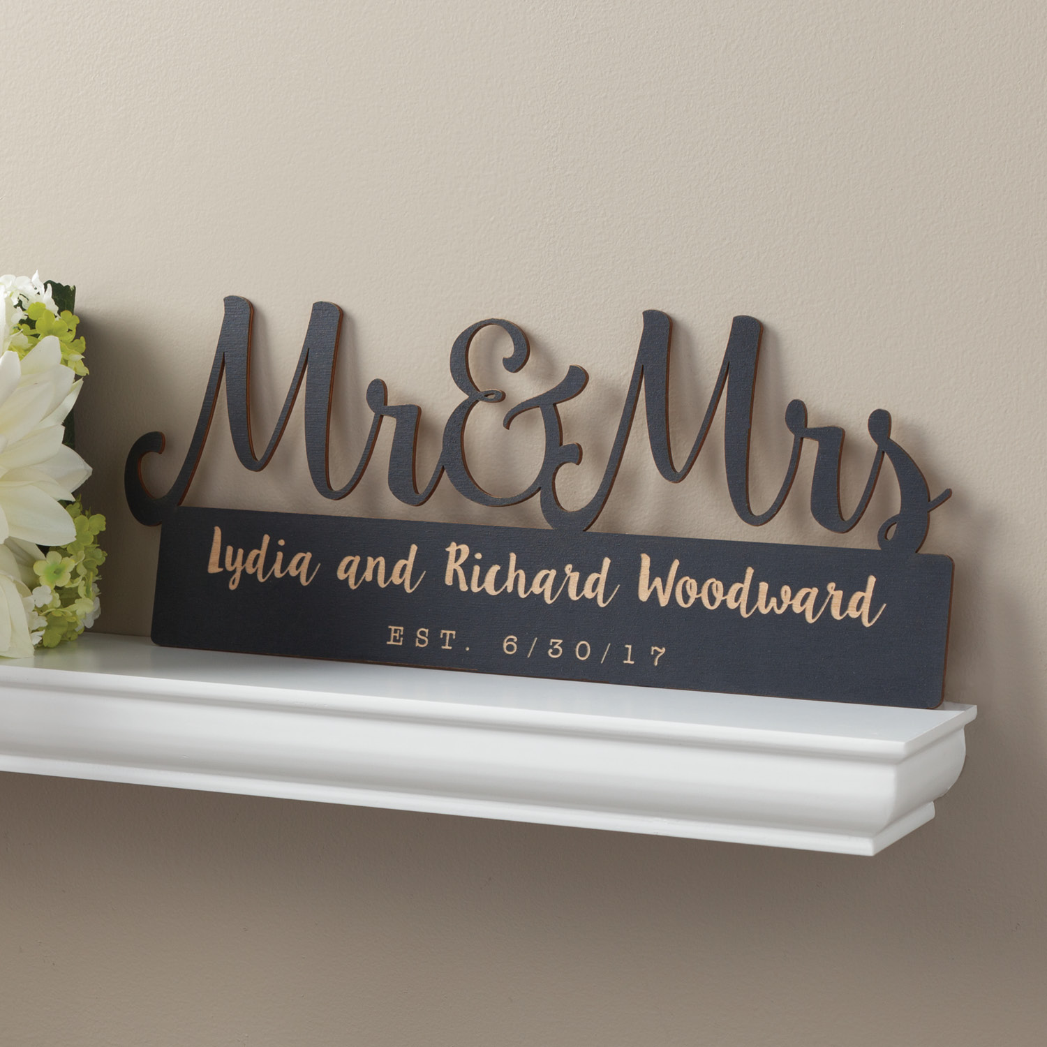 Personalized Black Wood Plaque - Mr. and Mrs.