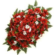 "34"" Poinsettia Headstone Spray, Red"