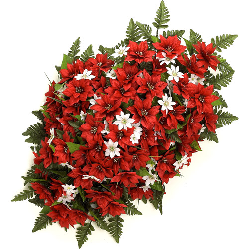 "34"" Poinsettia Headstone Spray, Red"