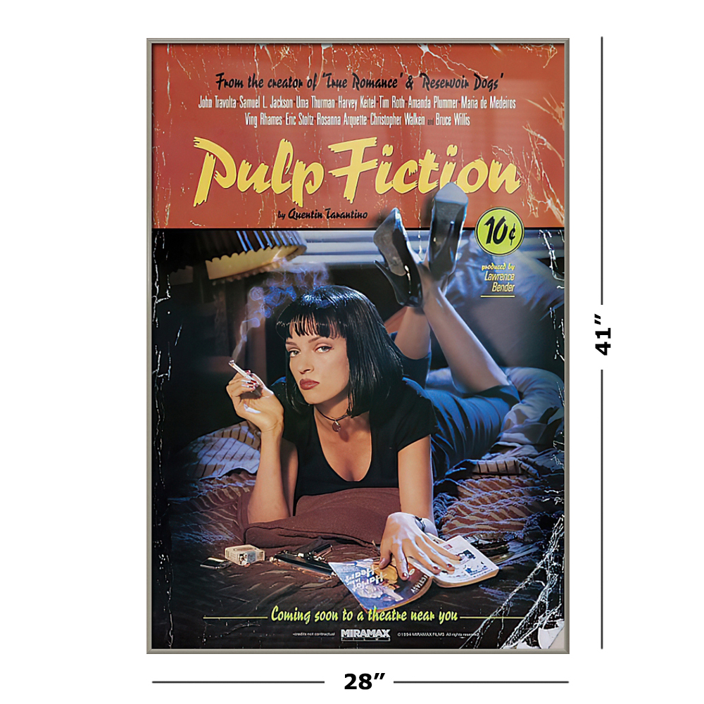 Pulp Fiction   Framed Movie Poster Uma Thurman / Mia Wallace   On Bed  Size 20