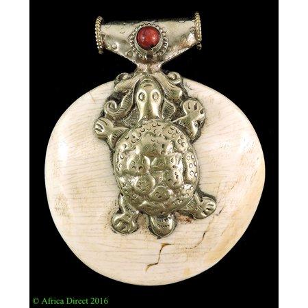 Tibetan Sacred Chank Shell Pendant Silver Turtle