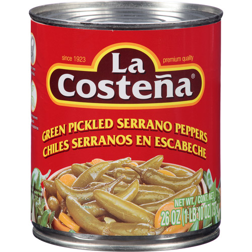 La Costena Green Pickled Serrano Peppers, 26 oz, (Pack of 12)
