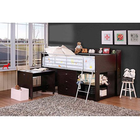 Savannah Storage Twin Wood Loft Bed With Desk Espresso