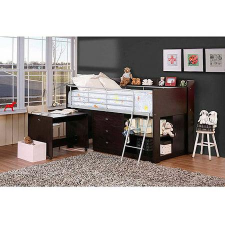 savannah storage twin wood loft bed with desk espresso. Black Bedroom Furniture Sets. Home Design Ideas