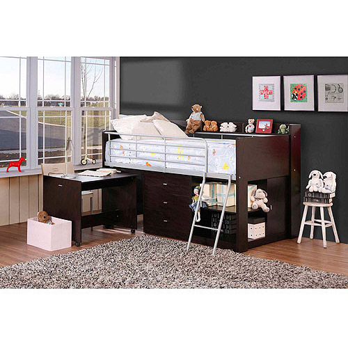 Savannah Storage Loft Bed with Desk, Espresso