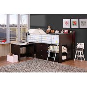 Savannah Storage Loft Bed With Desk Espresso
